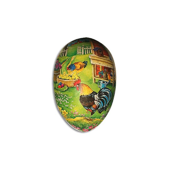 "4 1/2"" Papier Mache Rooster Potting Shed Easter Egg Container ~ Germany"