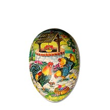 """3 1/2"""" Papier Mache Roosters Well Easter Egg Container ~ Germany"""