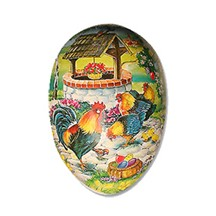 "4 1/2"" Papier Mache Roosters Well Easter Egg Container ~ Germany"