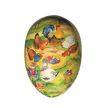 "4 1/2"" Papier Mache Chick Nest Easter Egg Container ~ Germany"