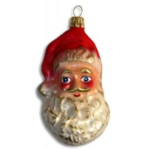 "Jolly Bearded Blown Glass Santa ~ Germany ~ 4"" tall"