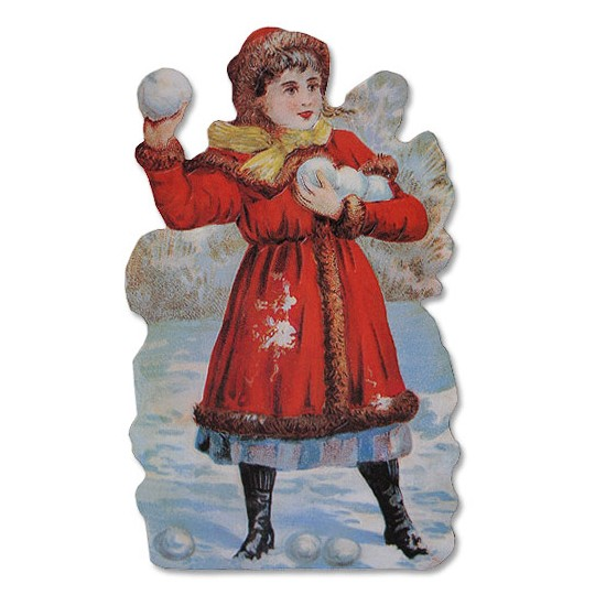 Victorian Girl with Snow Balls Card ~ England