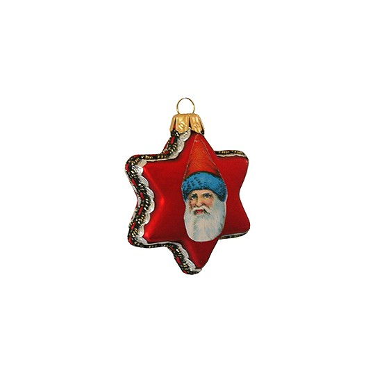 Vintage Santa on Matte Red Glass Star