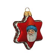 Vintage Santa on Matte Red Glass Star