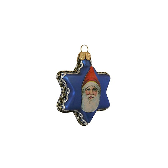 Vintage Santa on Matte Blue Glass Star