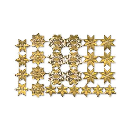 Gold Dresden Foil Stars & Halos ~ 26 Assorted