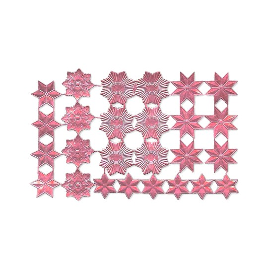 Pink Dresden Foil Stars & Halos ~ 26 Assorted