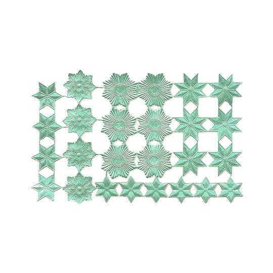 Aqua Dresden Foil Stars & Halos ~ 26 Assorted