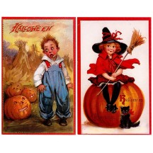 2 Vintage Style Halloween Post Cards