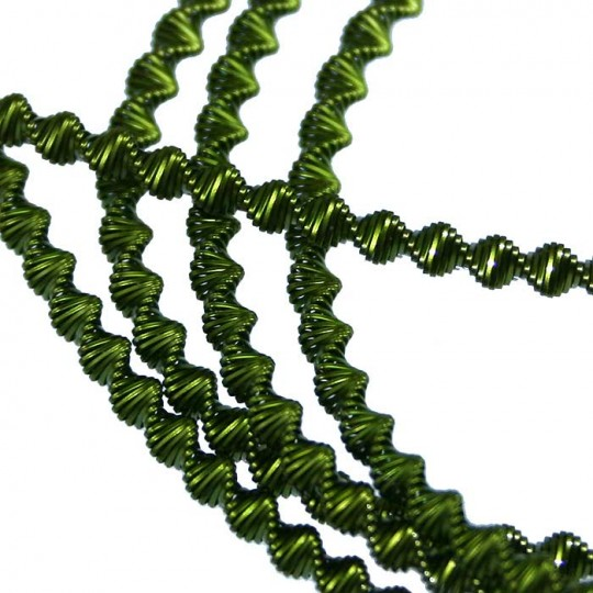Authentic German Bouillion Zig Zag Crinkle Wire ~ 3 mm Moss Green
