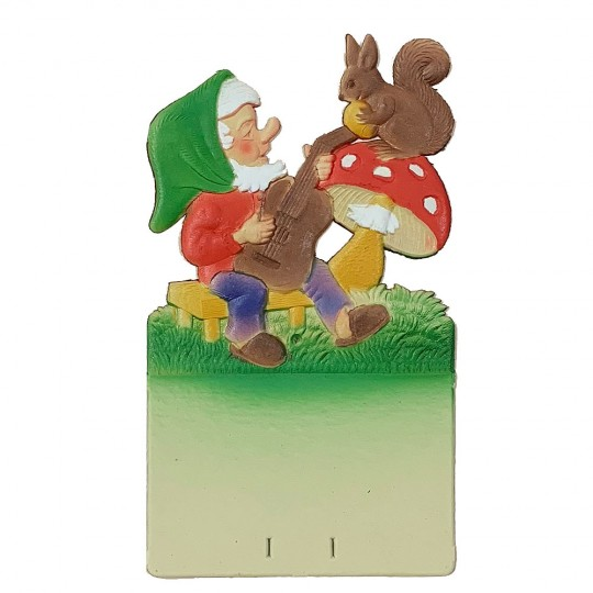 "Gnome with Squirrel Pressed Paper Cut Out ~ Germany ~ 7-1/4"" tall"