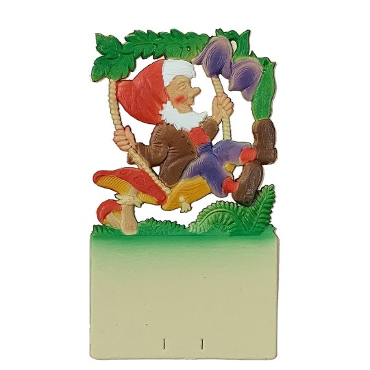 "Gnome on Swing Pressed Paper Cut Out ~ Germany ~ 7-1/4"" tall"