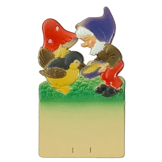 "Gnome Feeding Bird Pressed Paper Cut Out ~ Germany ~ 7-1/4"" tall"