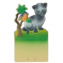 """Cat with Bird Pressed Paper Cut Out ~ Germany ~ 7-1/4"""" tall"""