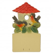"Birds at Bird House Pressed Paper Cut Out ~ Germany ~ 7-1/4"" tall"