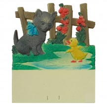 """Cat with Duckling Pressed Paper Cut Out ~ Germany ~ 7-1/2"""" tall"""