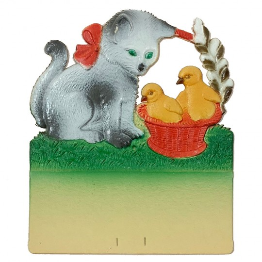 "Cat with Chicks Pressed Paper Cut Out ~ Germany ~ 7-1/2"" tall"