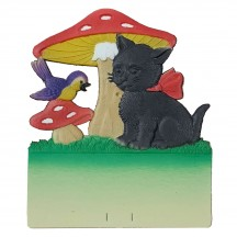 "Black Cat with Bird and Mushrooms Pressed Paper Cut Out ~ Germany ~ 7-1/2"" tall"