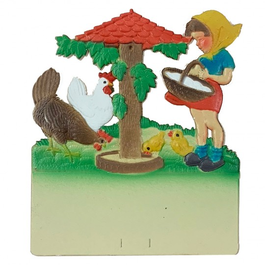 "Girl Feeding Chicks Pressed Paper Cut Out ~ Germany ~ 7-1/2"" tall"
