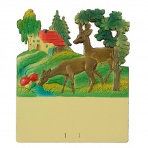 "Deer at Stream Pressed Paper Cut Out ~ Germany ~ 7-1/4"" tall"