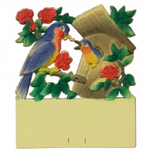 "Mama Bird at Bird House Pressed Paper Cut Out ~ Germany ~ 7-1/2"" tall"