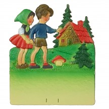"Hansel and Gretel Pressed Paper Cut Out ~ Germany ~ 7-1/4"" tall"