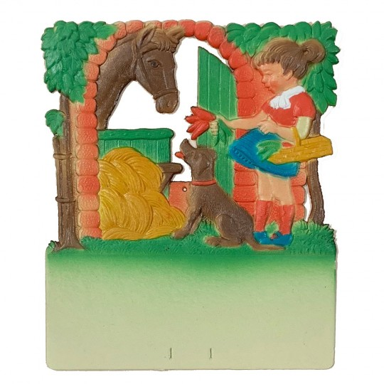 "Girl with Horse Pressed Paper Cut Out ~ Germany ~ 7-1/2"" tall"
