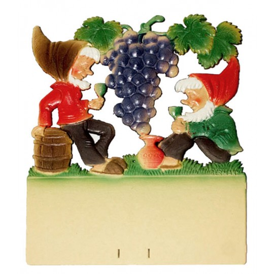 "Gnomes with Large Grapes Pressed Paper Cut Out ~ Germany ~ 7-3/8"" tall"