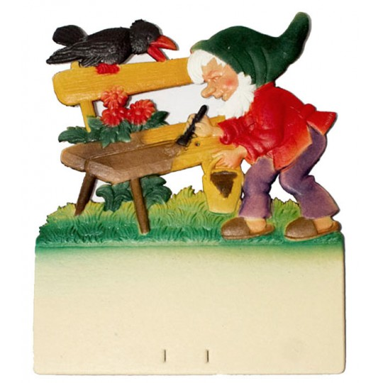 "Gnome Painting Bench Pressed Paper Cut Out ~ Germany ~ 7-3/8"" tall"