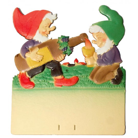 "Gnomes with Wine Bottle Pressed Paper Cut Out ~ Germany ~ 7-3/8"" tall"