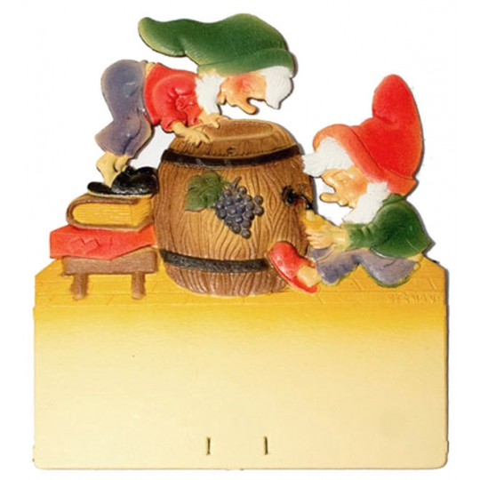 "Gnomes with Wine Barrel Pressed Paper Cut Out ~ Germany ~ 7-3/8"" tall"