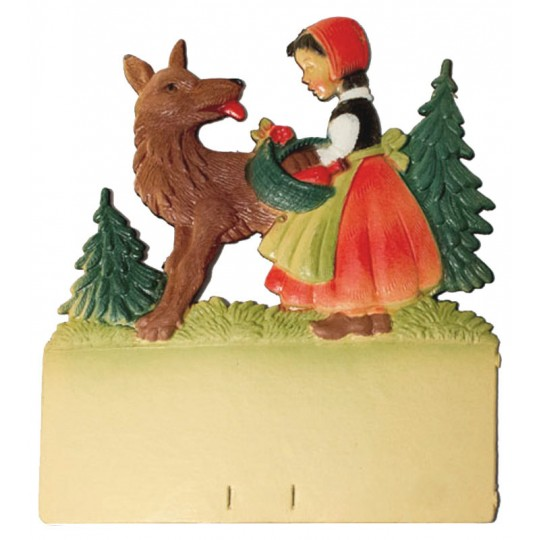 "Little Red Riding Hood and Wolf Pressed Paper Cut Out ~ Germany ~ 7-3/8"" tall"