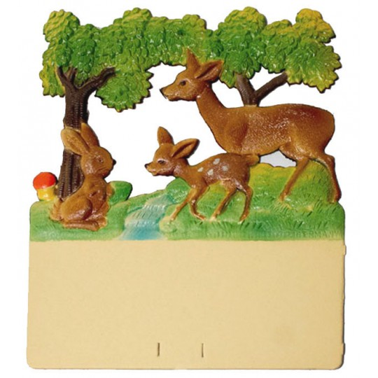 "Deer and Bunny Pressed Paper Cut Out ~ Germany ~ 7-3/8"" tall"