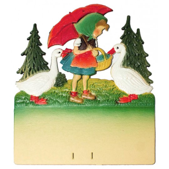 "Girl with Geese Pressed Paper Cut Out ~ Germany ~ 7-3/8"" tall"