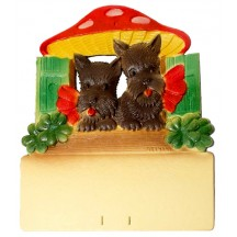"Scottie Dogs Mushroom House Pressed Paper Cut Out ~ Germany ~ 7-3/8"" tall"