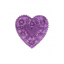 4 Purple Foil Heart Doilies ~ 4""