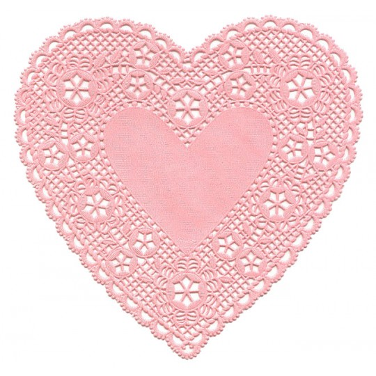10 Light Pink Paper Heart Doilies ~ 6""