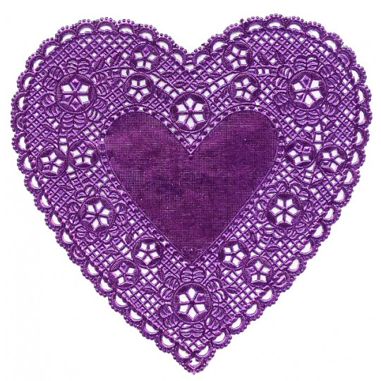 4 Purple Foil Heart Doilies ~ 6""
