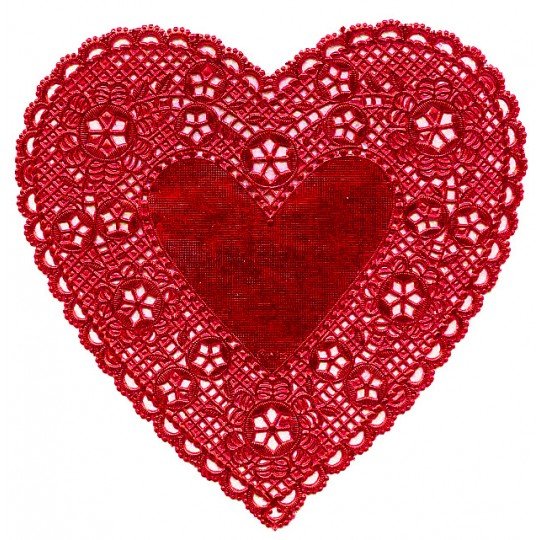 """4 Classic Red Foil Heart Doilies ~ 6"""""""