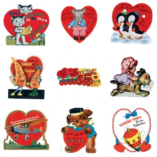 "Pack of 15 Vintage Valentines ""Be My Valentine"" featuring Mostly Animals ~ USA"