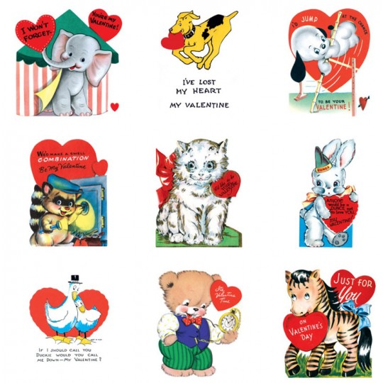 "Pack of 15 Vintage Valentines ""Fun with Animals"" featuring Animals ~ USA"