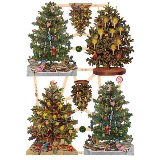 Large Decorated Christmas Tree Scraps ~ Germany ~ New for 2013
