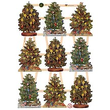 Small Decorated Christmas Tree Scraps ~ Germany ~ New for 2013