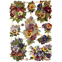 Pansy Flower Bouquet Scraps ~ Germany ~ 2013
