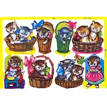 Whimsical Kitty Cats in Baskets Scraps ~ England