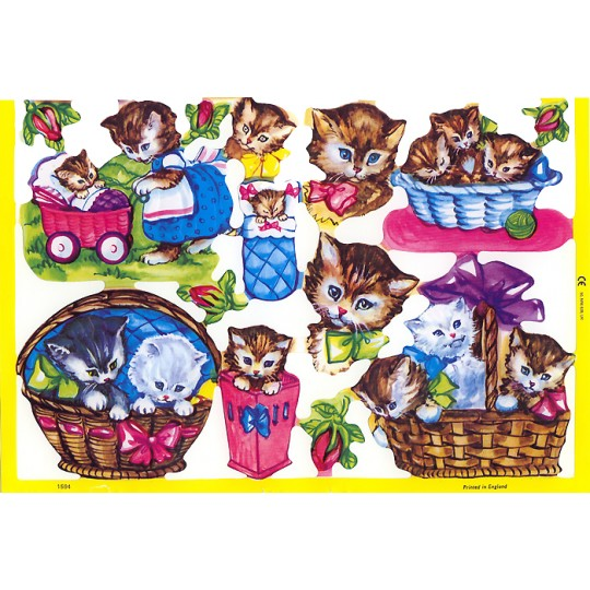 Whimsical Kitty Cats Some in Baskets Scraps ~ England