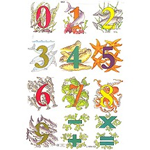 Sea Creatures 0-9 Number Scraps ~ England