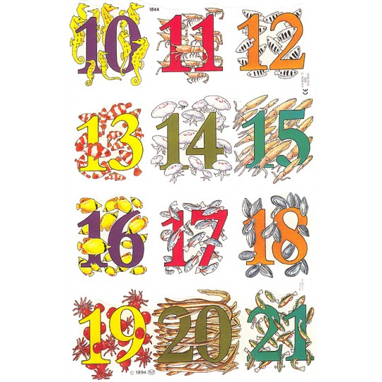 Sea Creatures 10-21 Number Scraps ~ England
