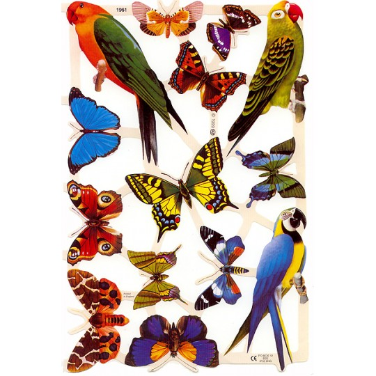 Colorful Parrot & Butterfly Scraps ~ England