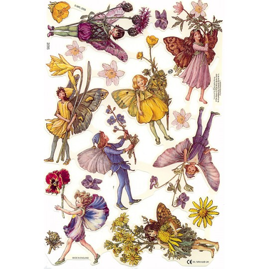 Purple & Yellow Flower Fairies Scraps ~ England